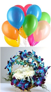 10 air Balloons 6 White carnations 6 Blue Orchids on handle of basket
