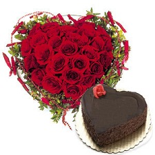 1 Kg Cake 25 red roses Heart
