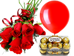 6 red roses 16 Ferrero rocher chocolates 1 red balloon