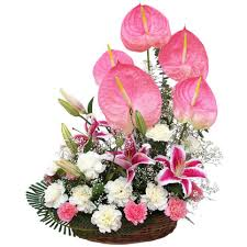 4 Anthurium and 20 flowers basket