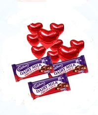 3 Dairy milk chocolates with 8 Red heart Air Filled Balloons