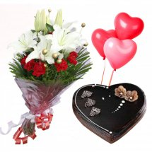 3 Red heart Air Filled Balloons with 2 White Lili and 6 red roses bouquet and 1 Kg heart chocolate cake