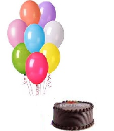 1 Kg Chocolate Cake with 10 Gas Balloons