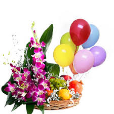 5 blown balloons with 8 orchids and 3 kg fruits in same basket