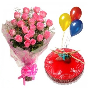 1/2 Kg Strawberry Cake with 3 Air Filled Balloons 12 Pink roses