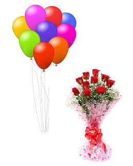 9 Air Balloons 12 Red roses bouquet