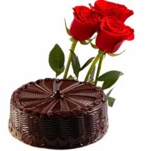 3 Red rose with 1/2 Kg Chocolate Cake