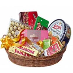 Large Basket of chocolates(Toblerone Vochelle Danish cookies Ferrero rochers)