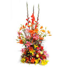 Large basket of lilies Anthurium gladioli and orchids