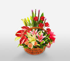 Basket of lilies and Anthurium