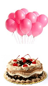 6 Pink air Balloons with 1/2 Kg Black Forest Cake
