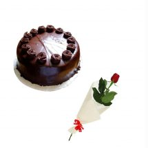 Single Red rose with 1/2 Kg Chocolate Cake
