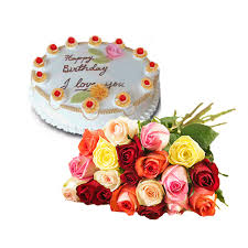 6 mix roses with 1/2 kg chocolate cake (For Pune only)