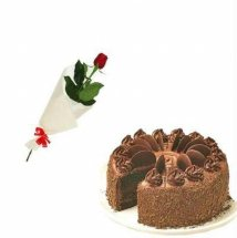 Single Red rose with 1/2 Kg Chocolate Mousse Cake