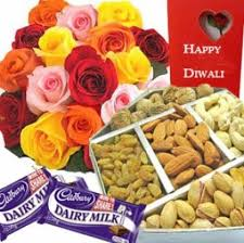6 roses card 250gms dry fruit and 2 chocolates