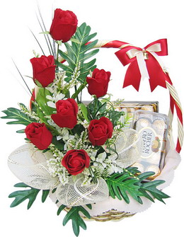 6 Red Roses and 16 Ferrero rocher chocolates in SAME basket