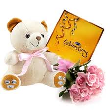 Teddy, Celebration Pack with 12 Pink Roses hand bouquet