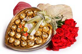 Heart shaped Chocolate box + 12 red roses