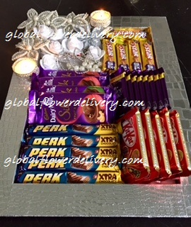 Decorated tray with 4 silk, 10 dairy milk, 5 5 star, 5 kitkat and 5 perk chocolates