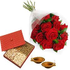 1 kg dry fruit box with 12 roses and 2 diyas