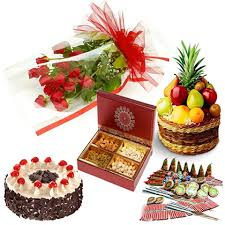 Fruit basket crackers cake 1/2 kg dry fruit 1/2 kg 12 roses
