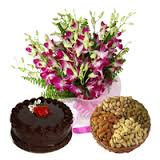 10 orchids bunch, 1/2 kg chocolate cake and 1/2 kg dry fruit