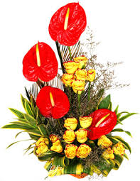 4 Anthurium and 20 yellow roses basket