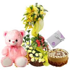 Lilies basket with roses 1/2 kg cake 1 feet teddy and card