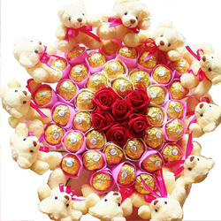 12 Teddies 6 red roses and 16 Ferrer rocher choclates in same bouquet