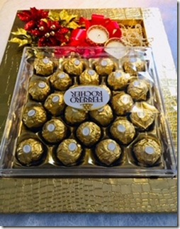 Golden decorated tray with 24 ferrero rocher chocolates