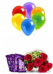 5 Blown balloons 6 Red roses hand tied 4 Dairy milk chocolate bars