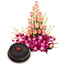 15 pink roses 6 orchids basket with 1/2 kg chocolate cake