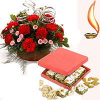 1/2 kg kaju katli and basket of 12 flowers
