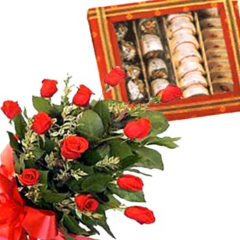 12 roses and 1/2 kg mithai