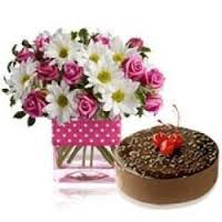 12 flowers in a vase with 1/2 kg cake