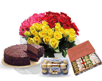 24 flowers, 1 pound cake, 16 pieces chocolates, 1 kg sweets