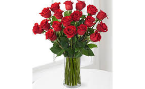 12 roses in a glass vase