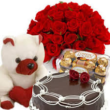 12 roses and 16 Ferrero rocher, Teddy with 1/2 Kg Cake