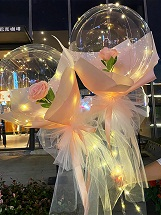 2 Pink rose in 2 transparent balloon arrangement with fairy light White wrapping Only for Pune