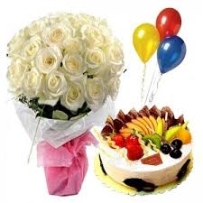 3 Air Filled Balloons with 12 White roses Bouquet and 1/2 Kg Fresh Fruit Cake
