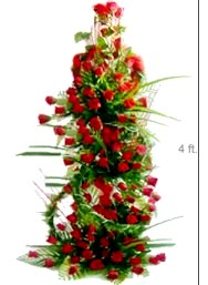 100 red Roses on a 4 ft stand Same day delivery for Pune