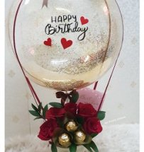 5 ferrero chocolate 5 roses with happy birthday printed balloon Only for Pune