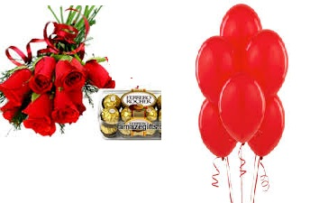 6 Red Roses Hand Tied With 12 Air Balloon And 16 Ferrero Rocher Chocolates