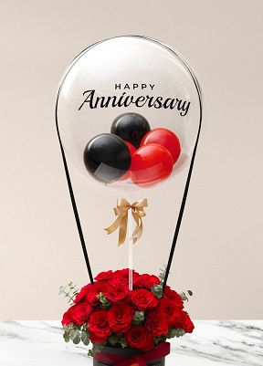 Happy transparent printed transparent balloon with 4 black and red balloons and 20 red roses arrangement Only for Pune