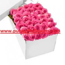 50 Valentine roses in a box