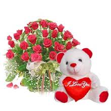 24 red roses in basket with Valentine heart and Teddy