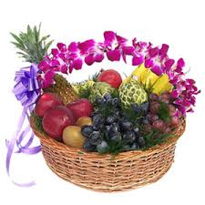 2 kg fruit basket with handle of basket decorated with orchids
