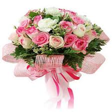 30 pink white roses hand tied with pink wrapping