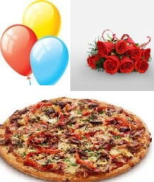 Large Domino Veg Pizza with 8 Red roses Hand tied and 3 air balloons
