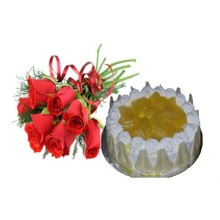 Six Red roses with 1/2 Kg Pineappple Cake